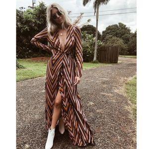 NWT Flynn Skye Kate Ziggy Maxi Dress Stripe Small